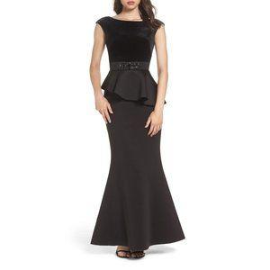 Eliza J Velvet Cap Sleeve Mixed Media Peplum Gown 4 Black